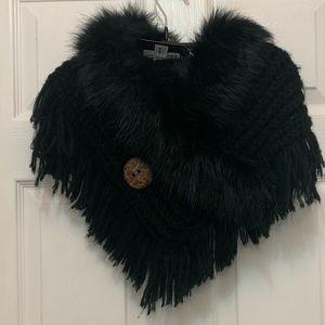 Black Fur knitted Shrug/Wrap Scarf - NWT